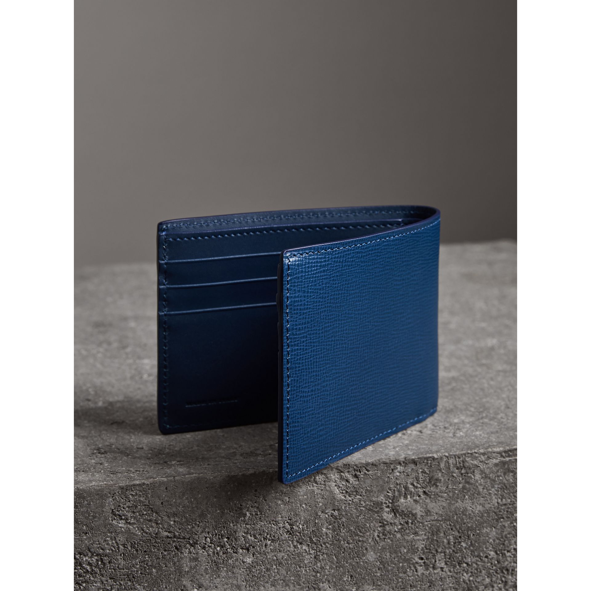 London Leather Bifold Wallet in Deep Blue - Men | Burberry - gallery image 2