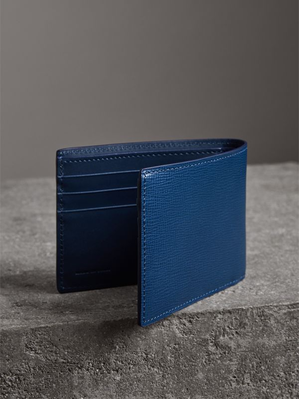 London Leather Bifold Wallet in Deep Blue - Men | Burberry - cell image 2