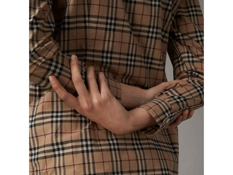 Check Cotton Shirt in Camel - Women | Burberry Australia - cell image 1