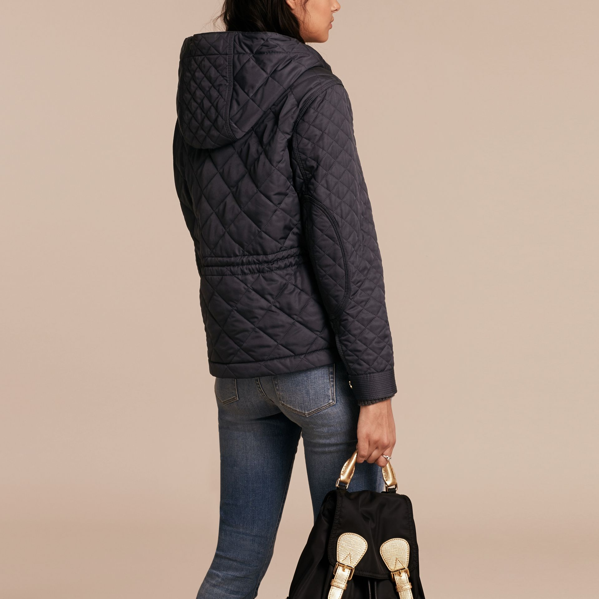 Diamond Quilted Hooded Jacket with Check Lining Navy - gallery image 3