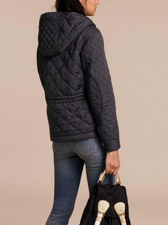 Diamond Quilted Hooded Jacket with Check Lining Navy - cell image 2