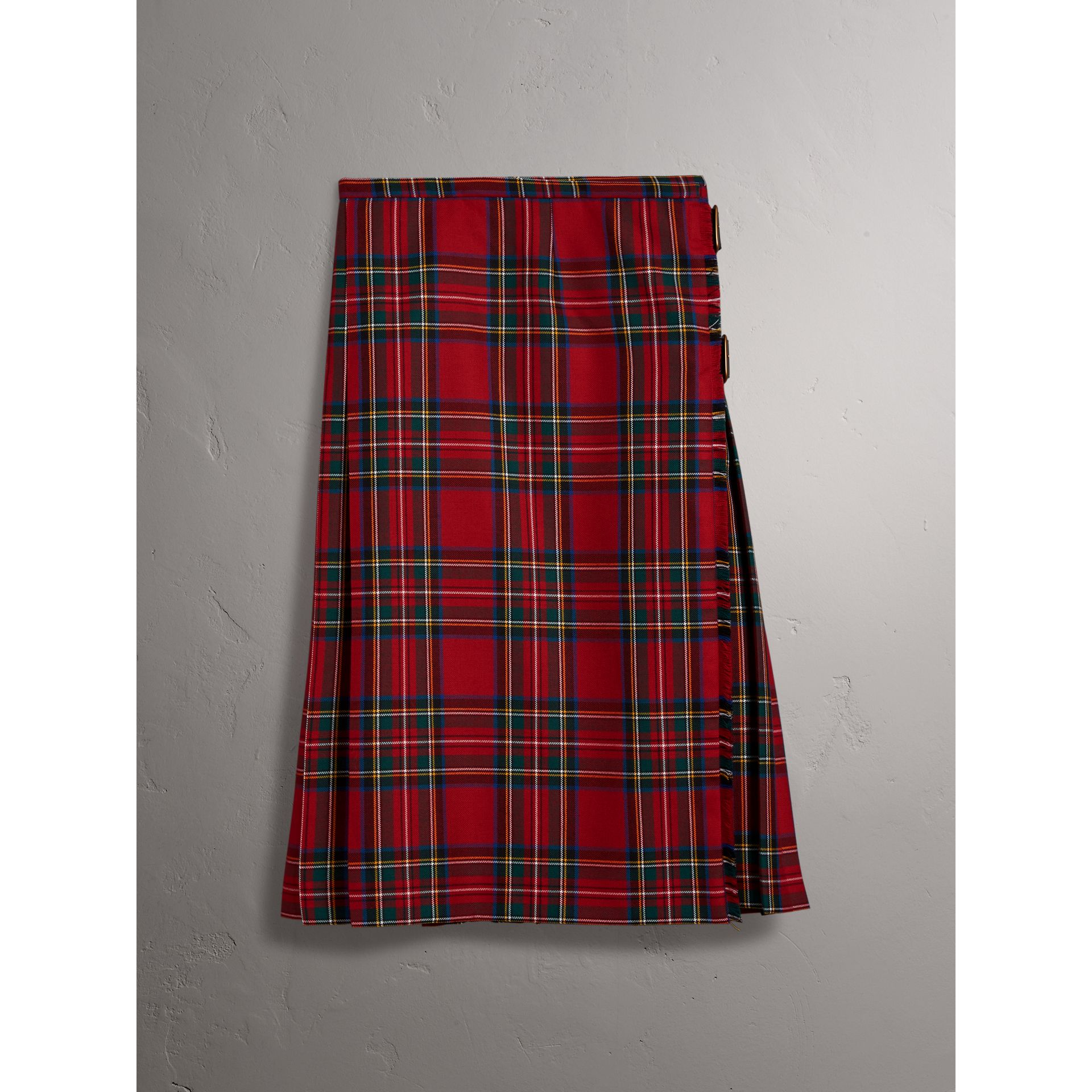 Tartan Wool Kilt in Bright Red - Women | Burberry - gallery image 4