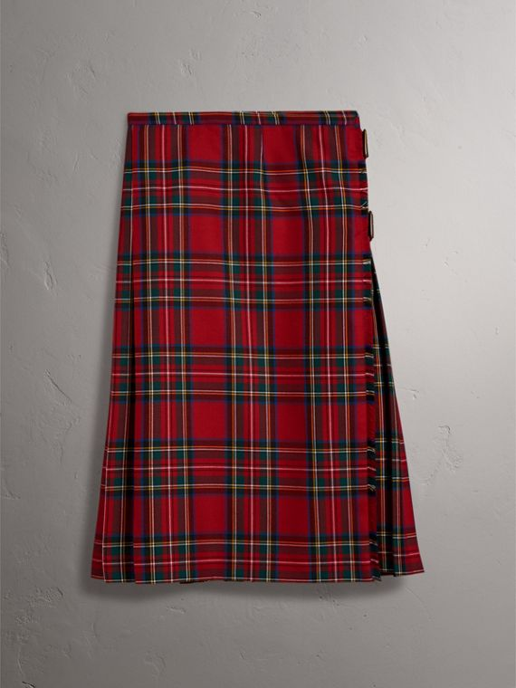 Tartan Wool Kilt in Bright Red - Women | Burberry Australia - cell image 3