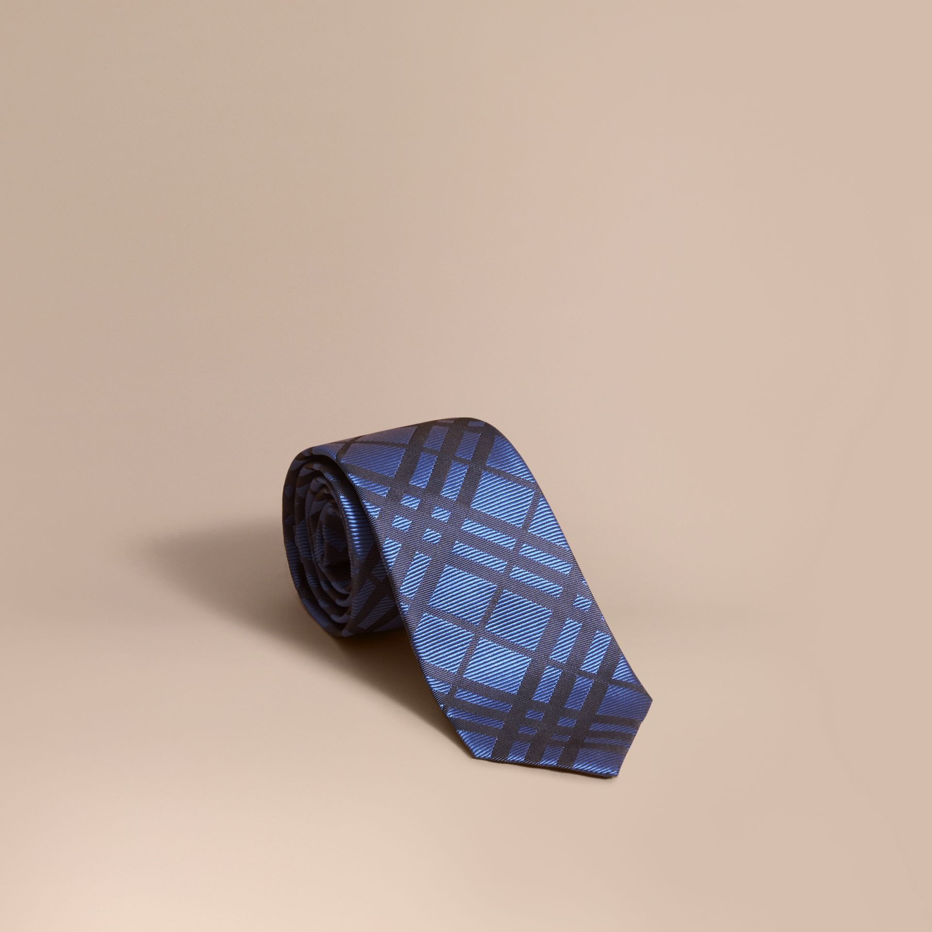 Modern Cut Check Jacquard Silk TIe Brilliant Blue - gallery image 1