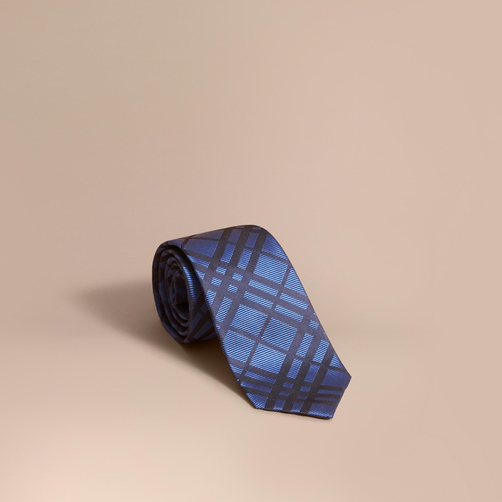 Modern Cut Check Silk Jacquard Tie in Brilliant Blue - gallery image 1