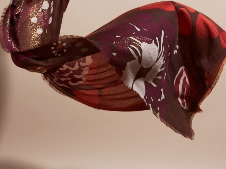 Deep burgundy Floral and Gold Foil Lightweight Cashmere Scarf Deep Burgundy - cell image 4