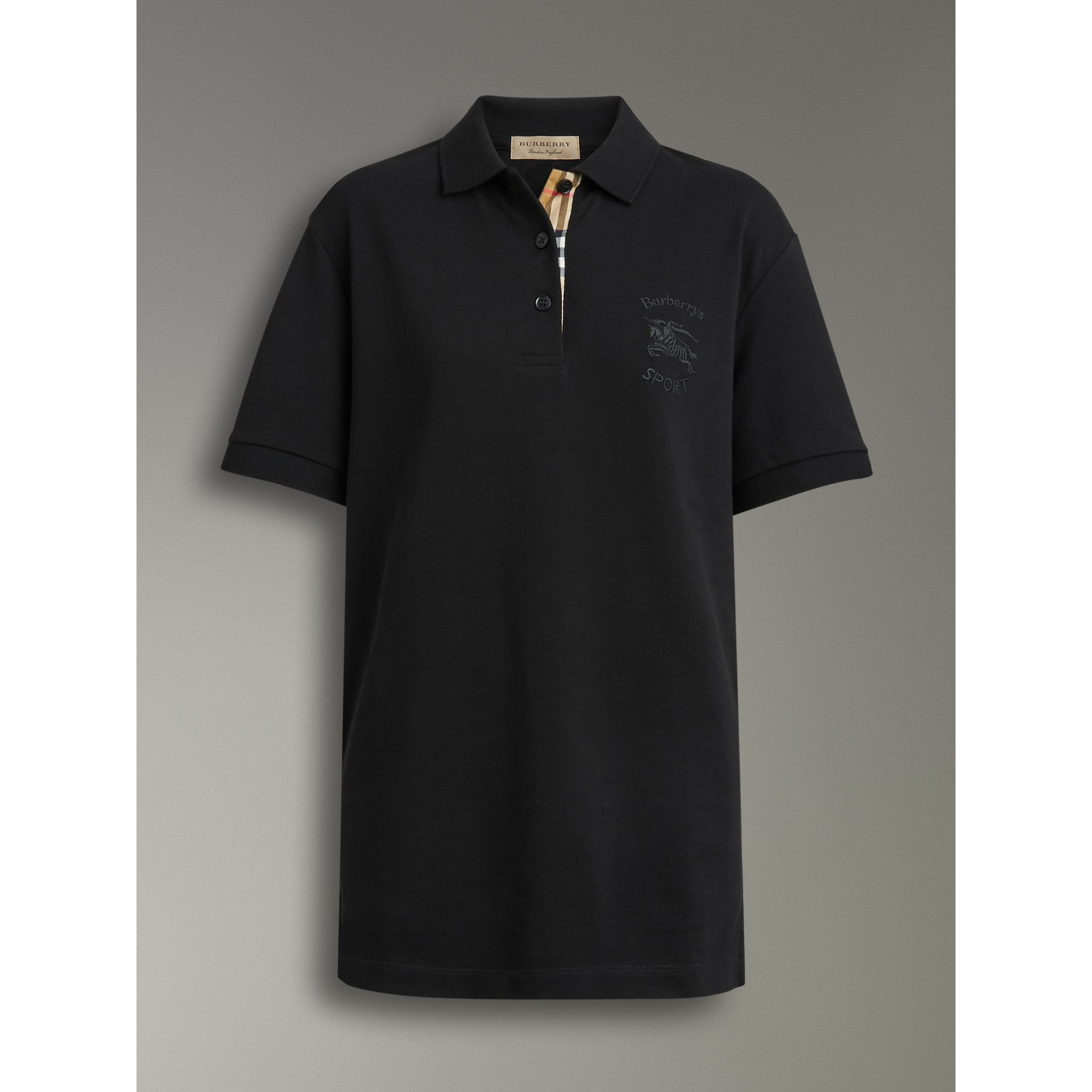 Check Placket Cotton Piqué Polo Shirt in Black - Women | Burberry - gallery image 3