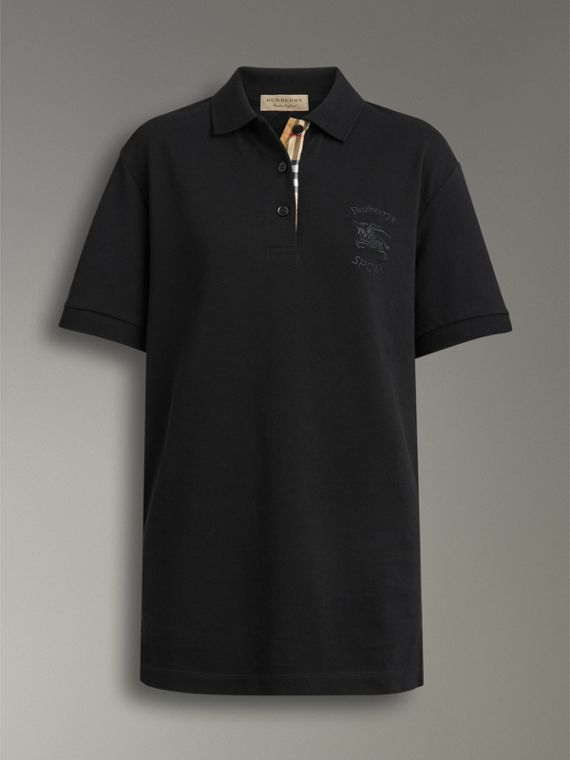Check Placket Cotton Piqué Polo Shirt in Black - Women | Burberry Singapore - cell image 3