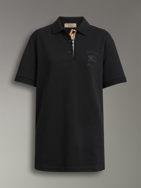 Check Placket Cotton Piqué Polo Shirt in Black - Women | Burberry - cell image 3
