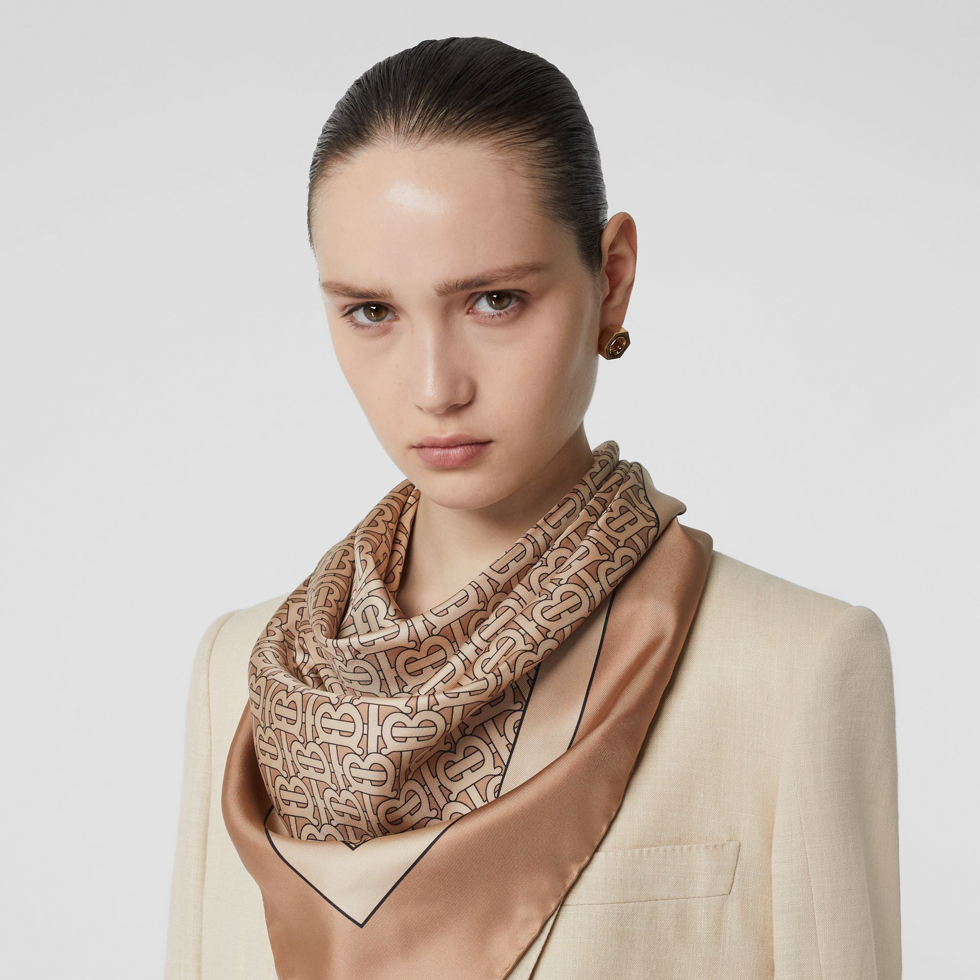 Monogram Print Silk Square Scarf in Pale Camel | Burberry United Kingdom - gallery image 2