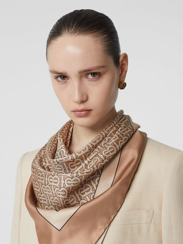 Monogram Print Silk Square Scarf in Camel | Burberry Australia - cell image 2