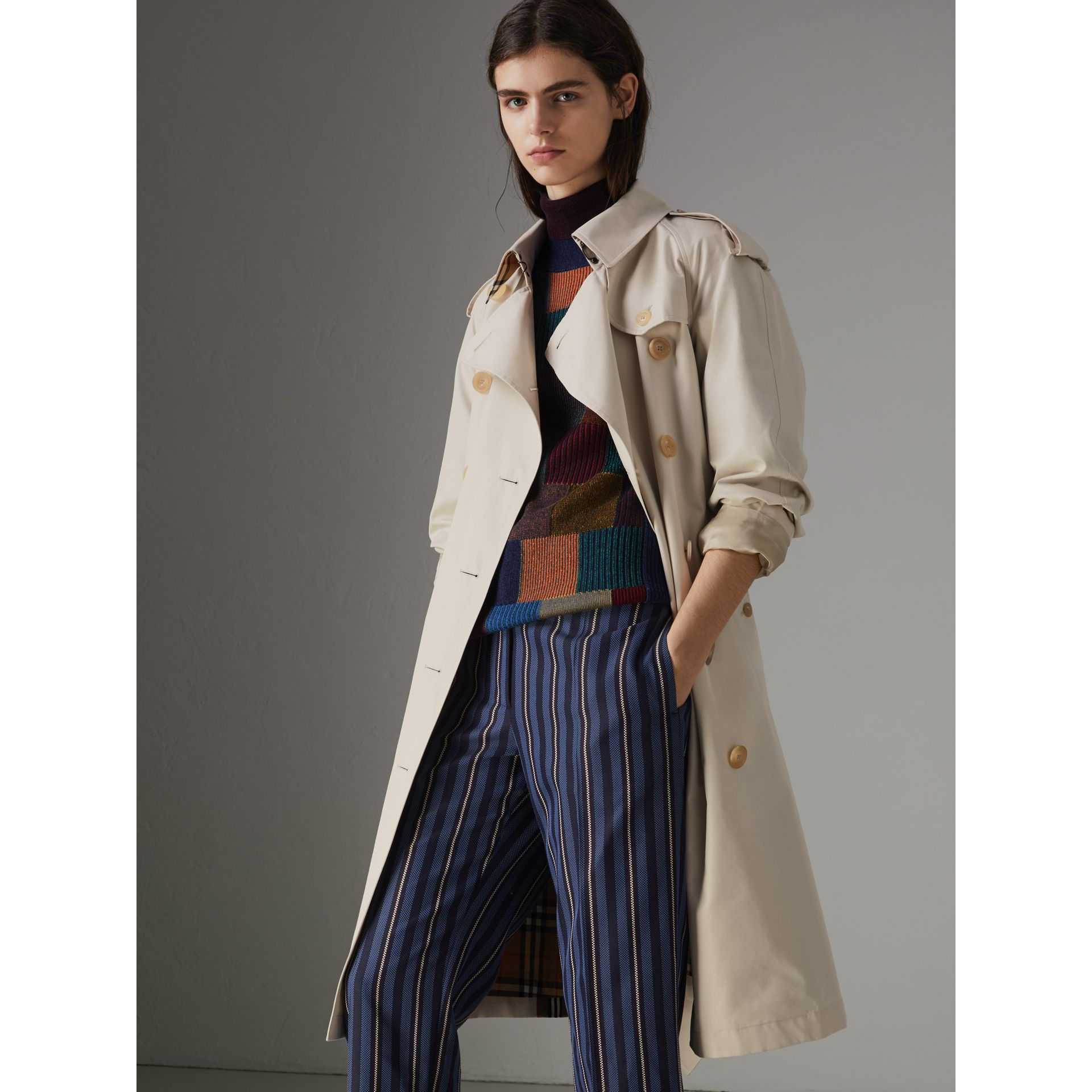 Heritage Stripe Cotton Gabardine Trench Coat in Stone - Women | Burberry - gallery image 6