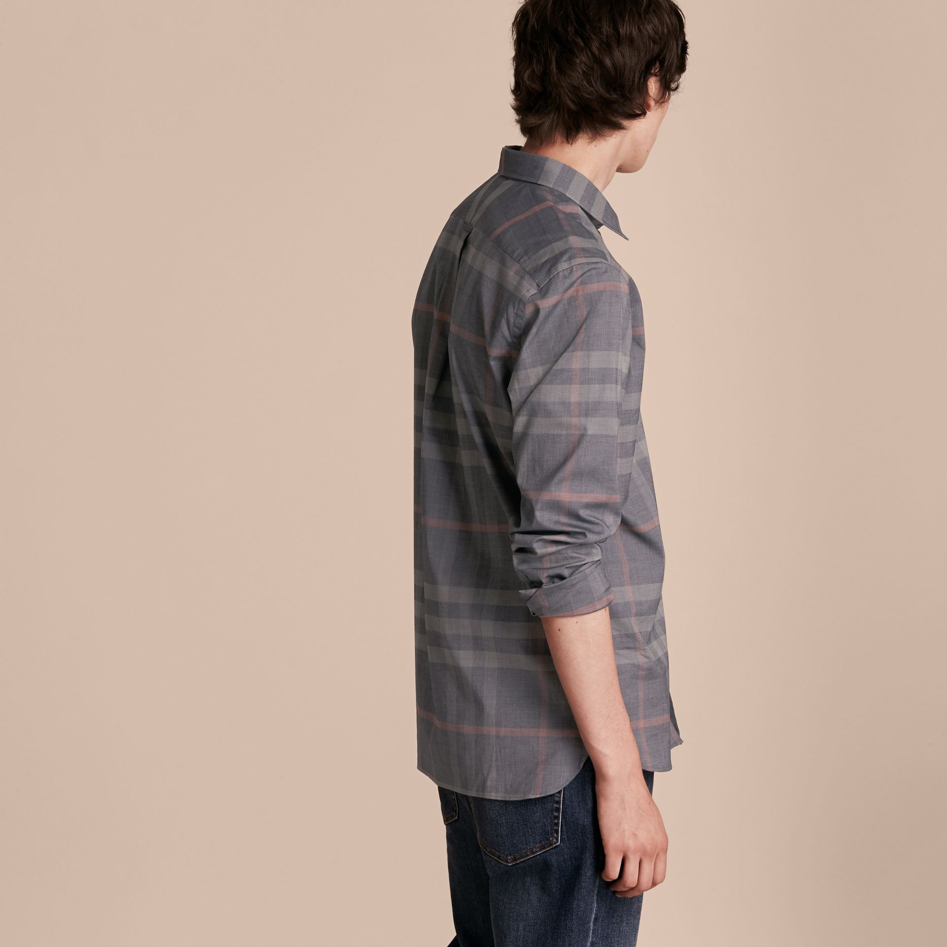 Check Cotton Oxford Shirt in Dark Charcoal - gallery image 3