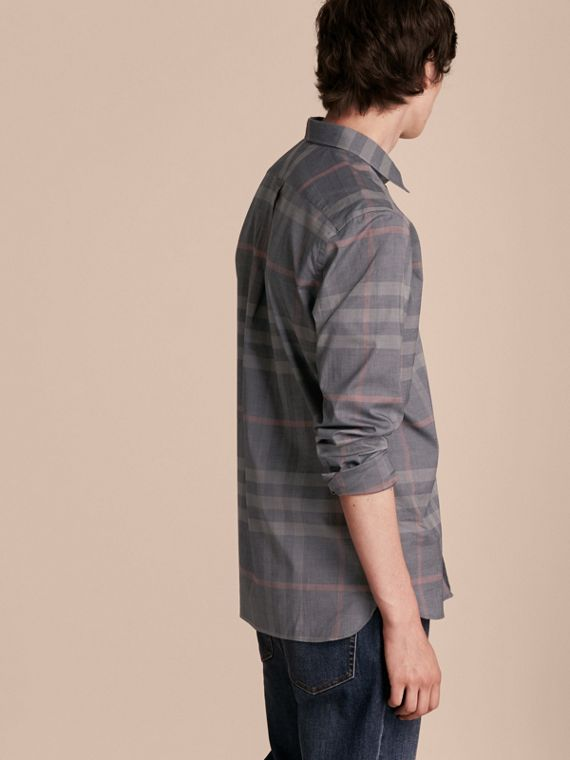 Check Cotton Oxford Shirt in Dark Charcoal - cell image 2