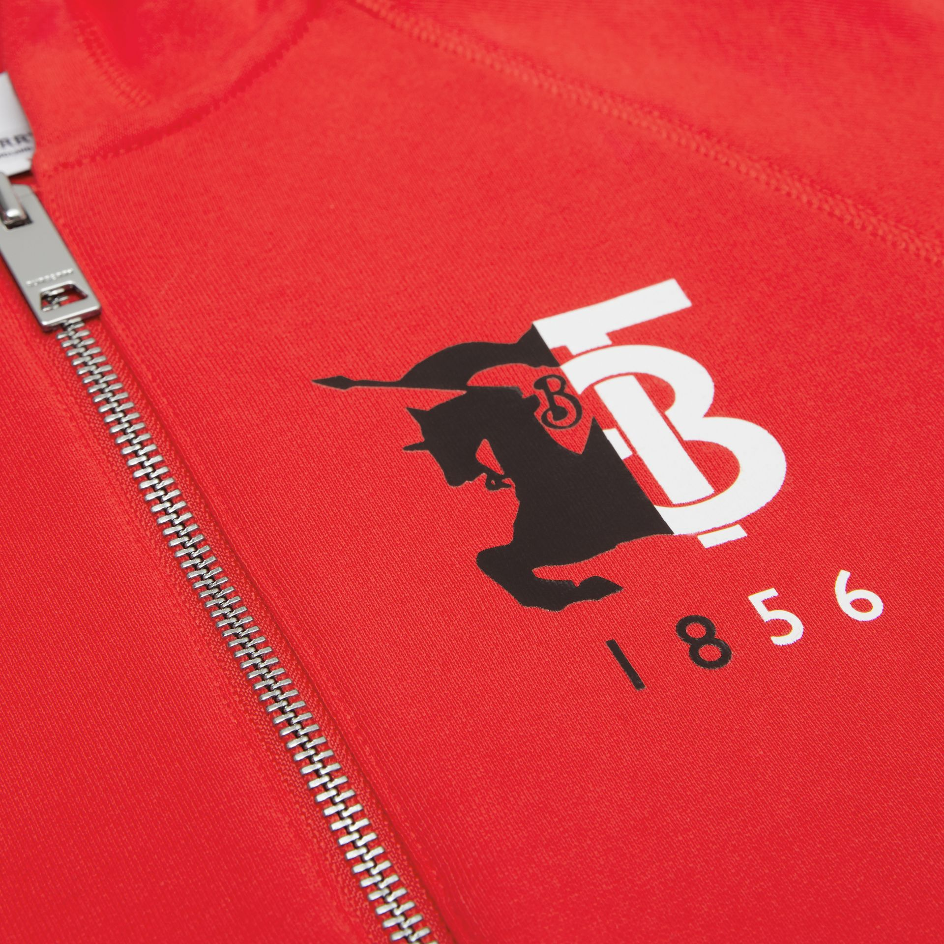 Contrast Logo Graphic Cotton Hooded Top in Bright Red | Burberry - gallery image 1