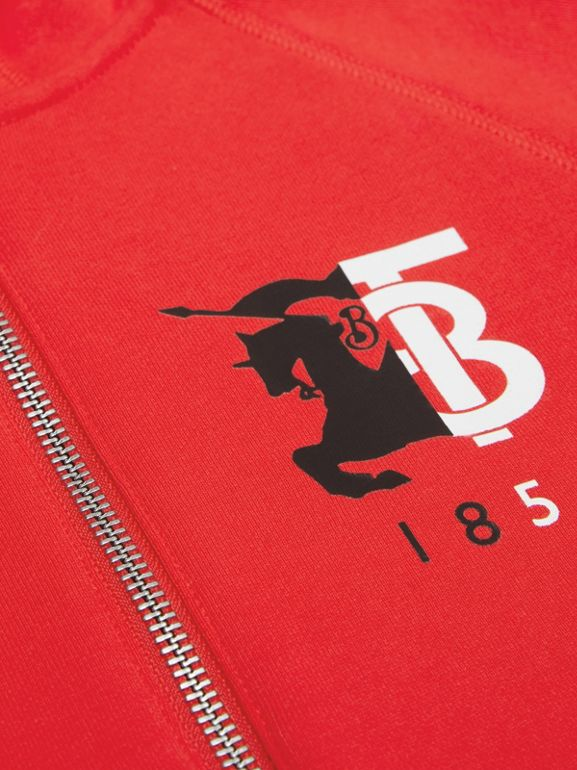 Contrast Logo Graphic Cotton Hooded Top in Bright Red | Burberry - cell image 1