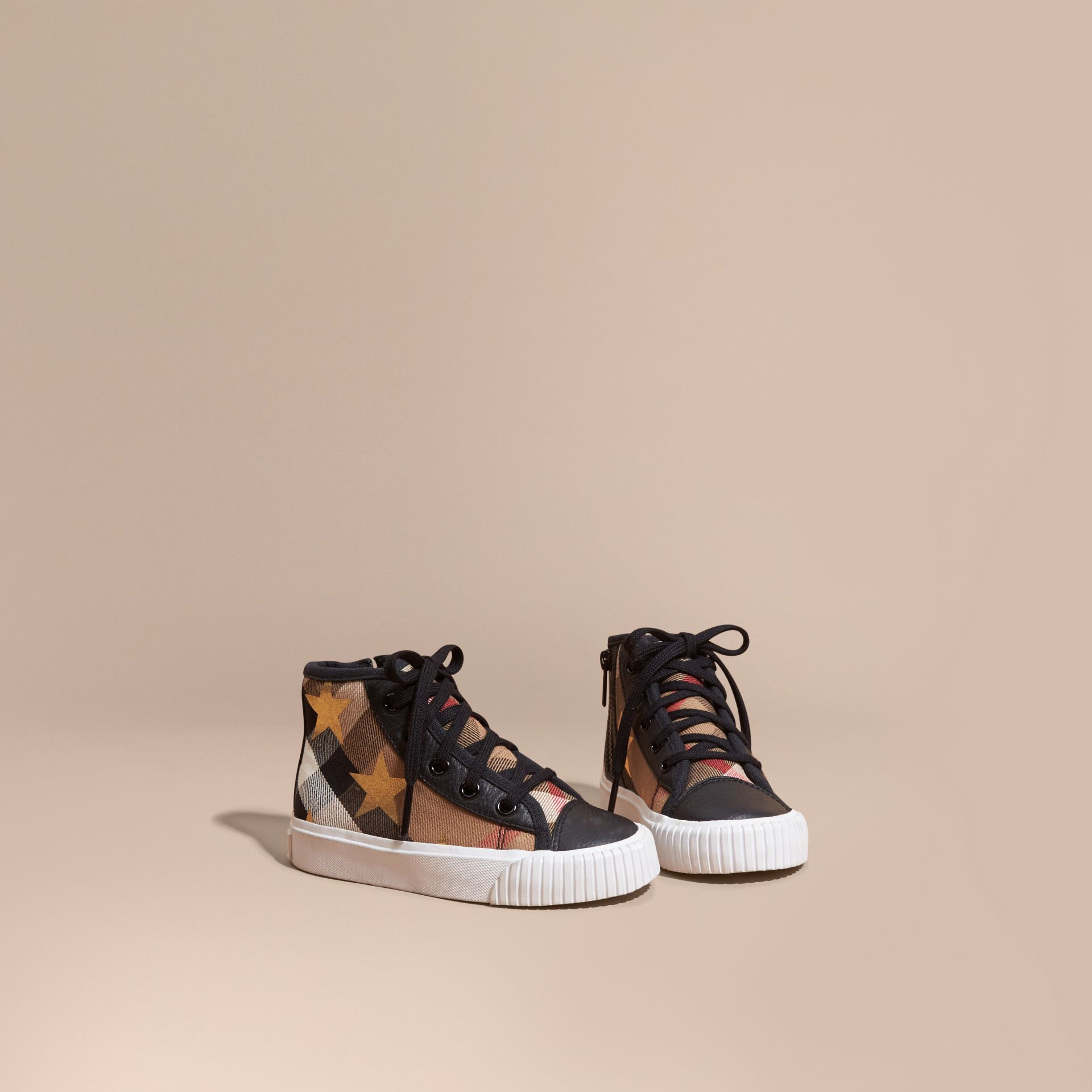 House check/black House Check and Star Print High-top Trainers - gallery image 1