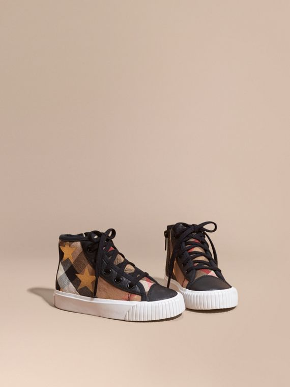 House Check and Star Print High-top Trainers