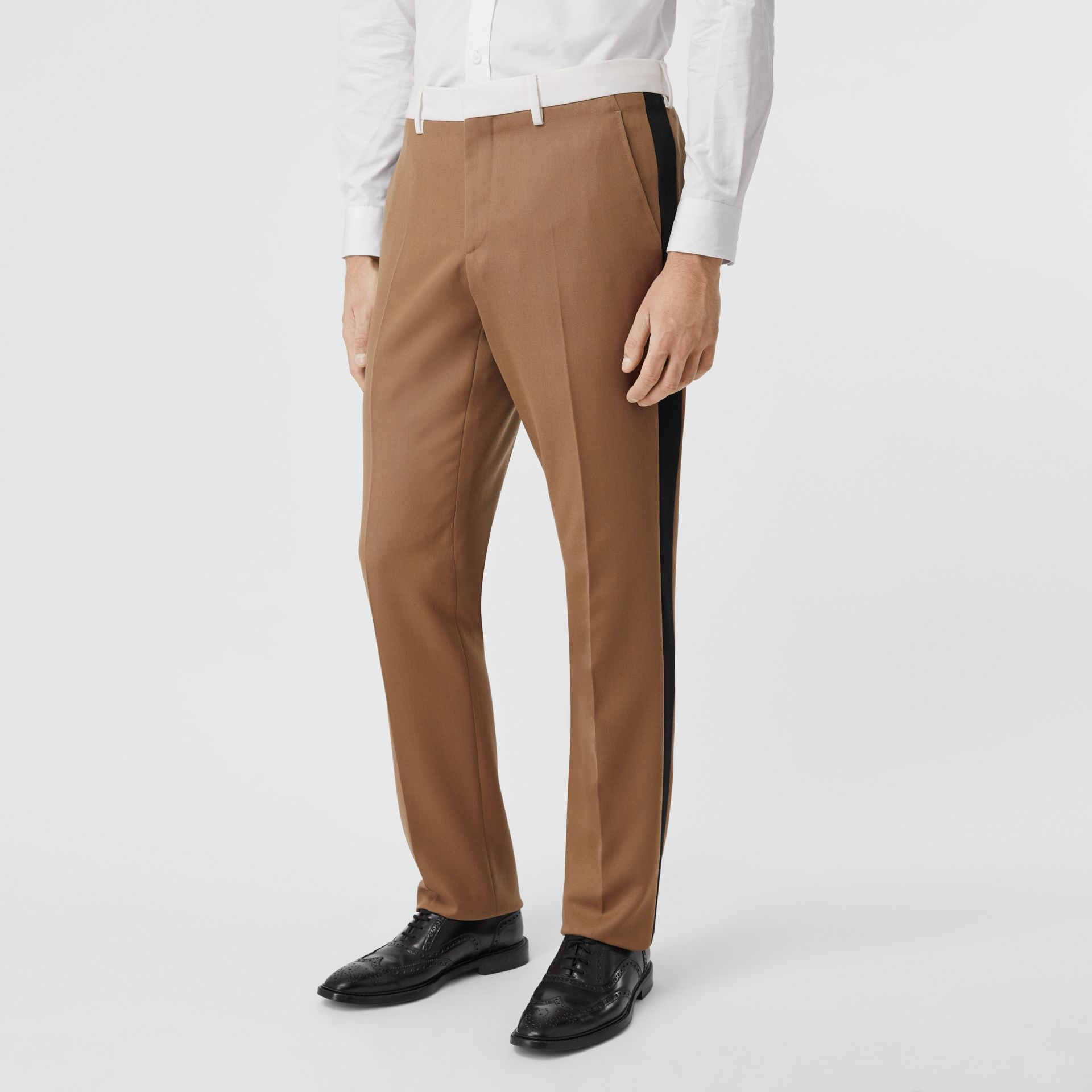 Classic Fit Side Stripe Wool Tailored Trousers in Camel - Men | Burberry Canada - gallery image 4