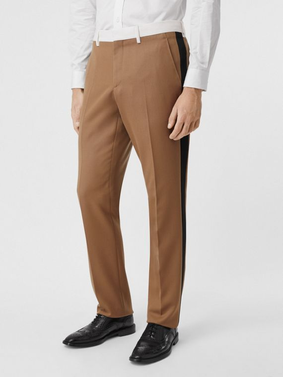 Classic Fit Side Stripe Wool Tailored Trousers in Camel