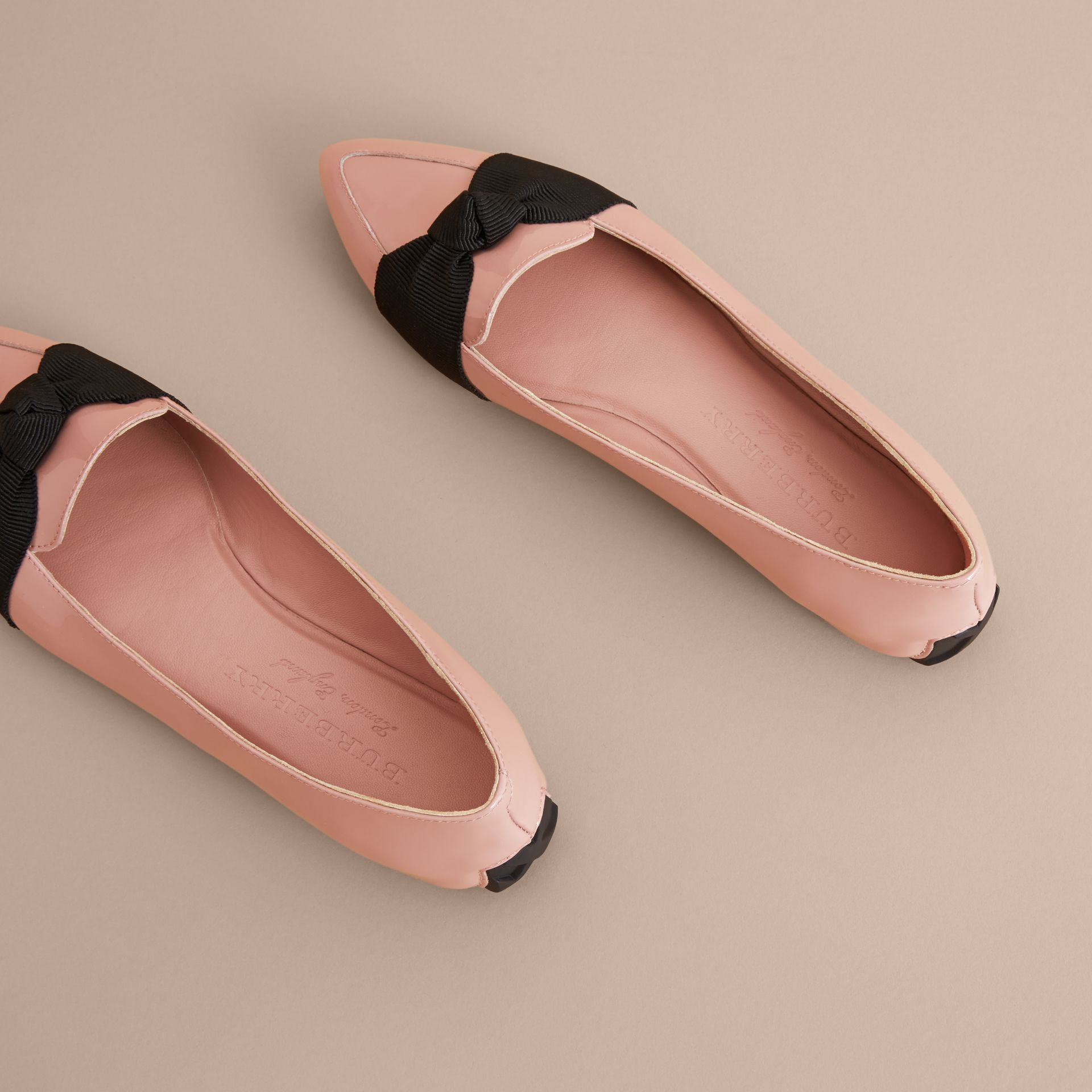 Grosgrain Bow Patent Leather Loafers in Nude Pink - Women | Burberry - gallery image 4
