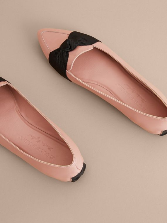 Grosgrain Bow Patent Leather Loafers in Nude Pink - Women | Burberry - cell image 3