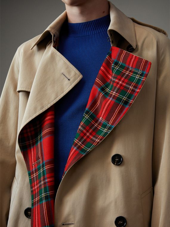 Tartan-lined Cotton Gabardine Trench Coat in Honey