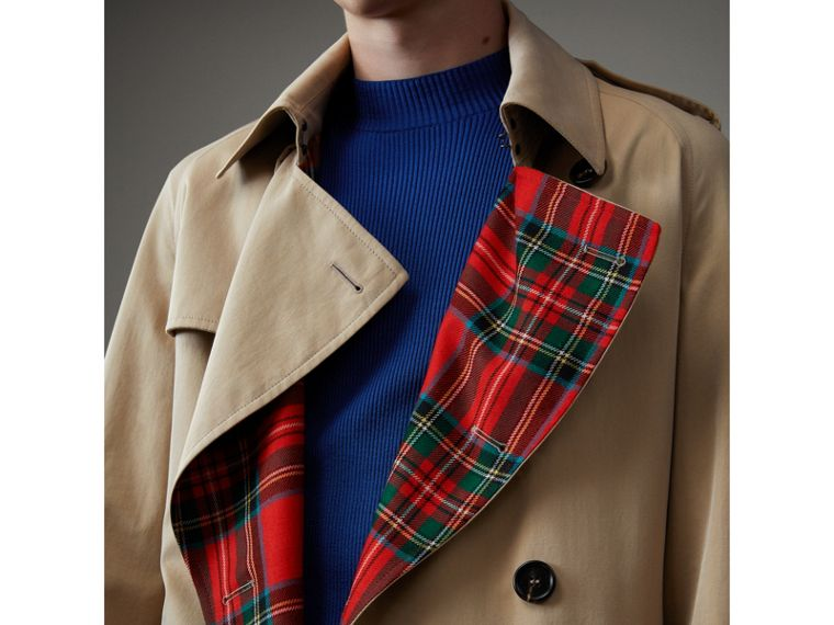 Tartan-lined Cotton Gabardine Trench Coat in Honey - Men | Burberry Singapore - cell image 1