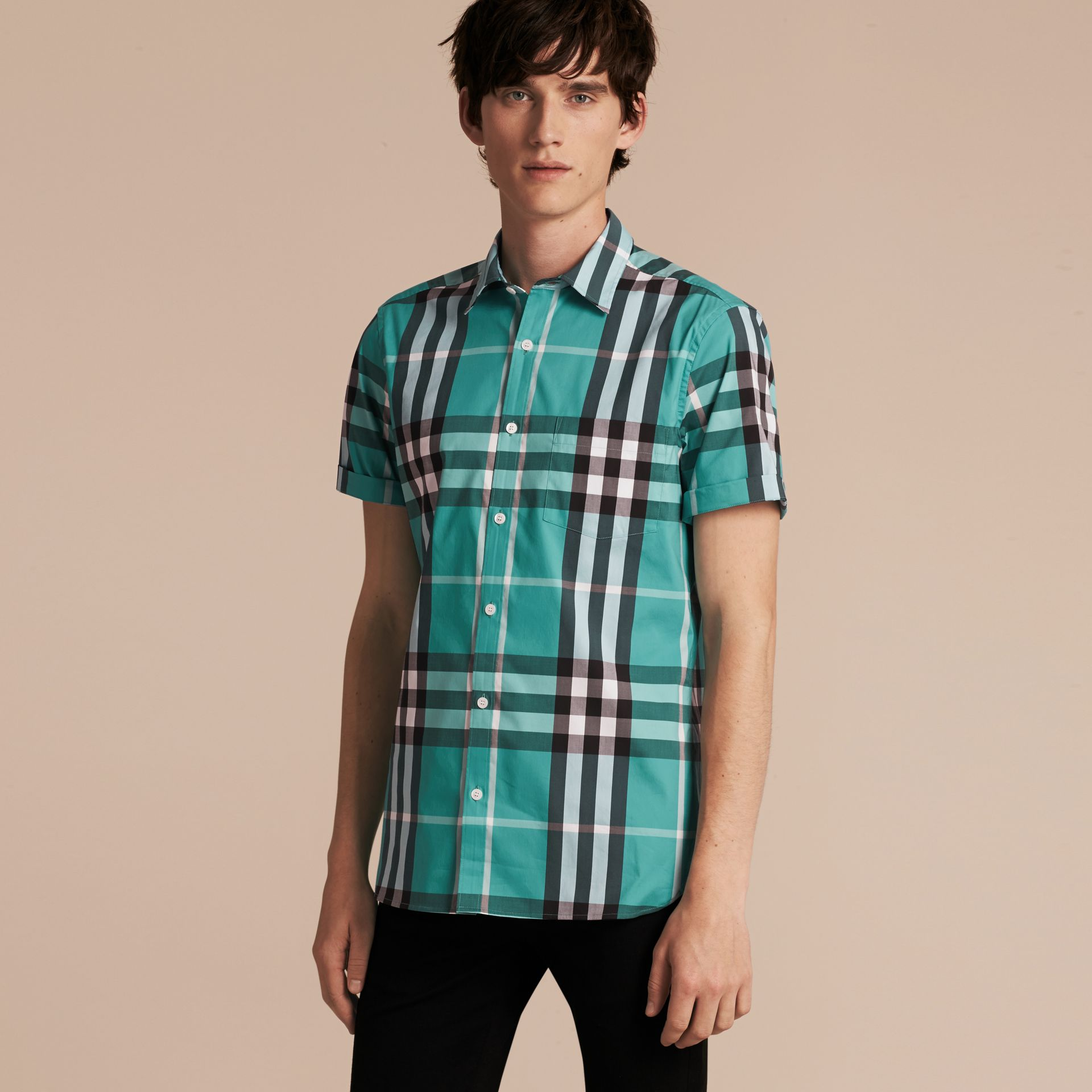 Short-sleeved Check Stretch Cotton Shirt in Cyan Green - Men | Burberry Canada - gallery image 6