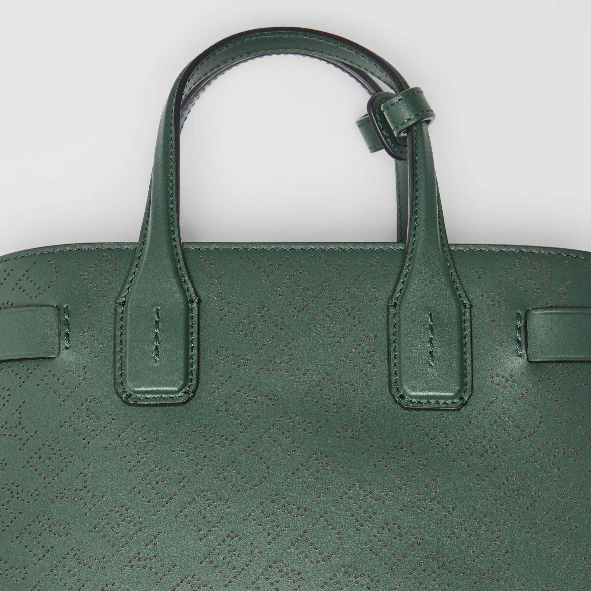 The Small Banner in Perforated Logo Leather in Vintage Green - Women | Burberry Australia - gallery image 1