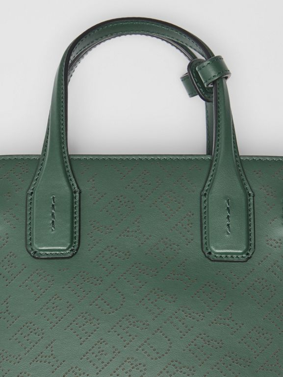 The Small Banner in Perforated Logo Leather in Vintage Green - Women | Burberry - cell image 1
