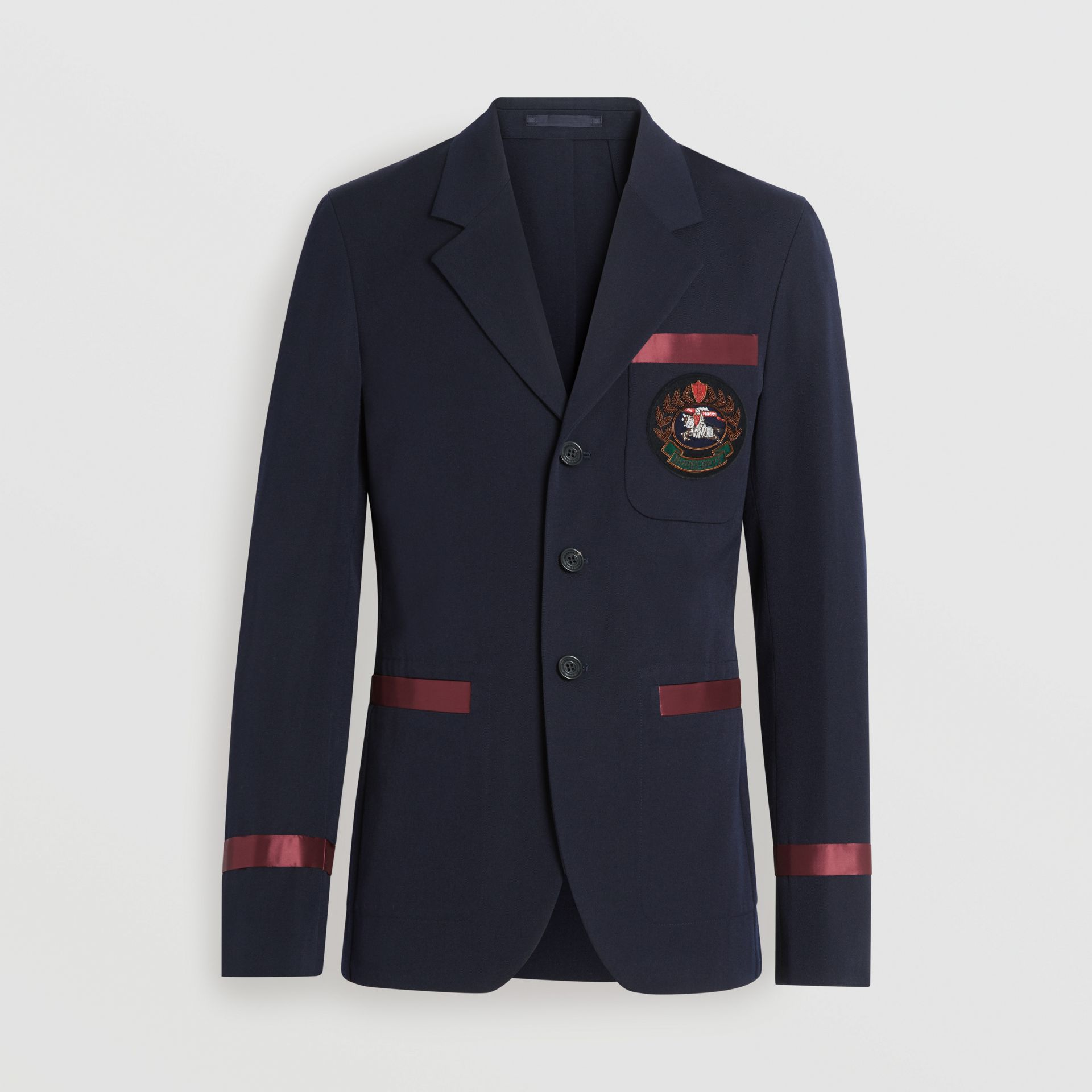 Crest Detail Wool Blend Club Blazer in Navy - Men | Burberry Singapore - gallery image 3