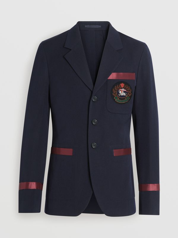 Crest Detail Wool Blend Club Blazer in Navy - Men | Burberry Singapore - cell image 3