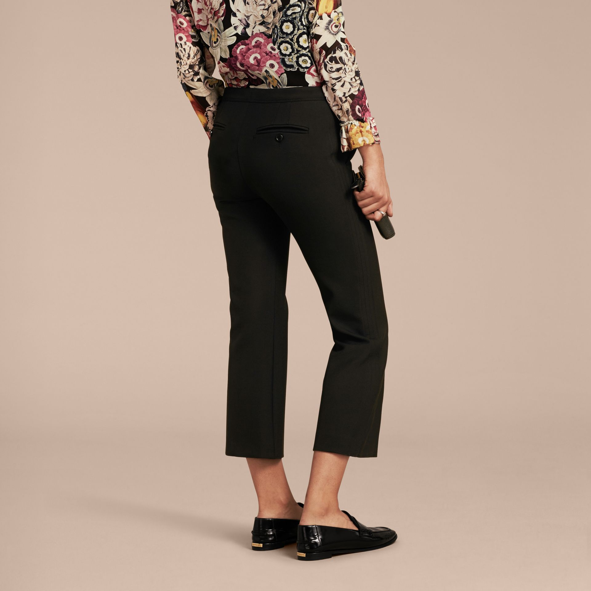 Black Cropped Tailored Trousers - gallery image 3