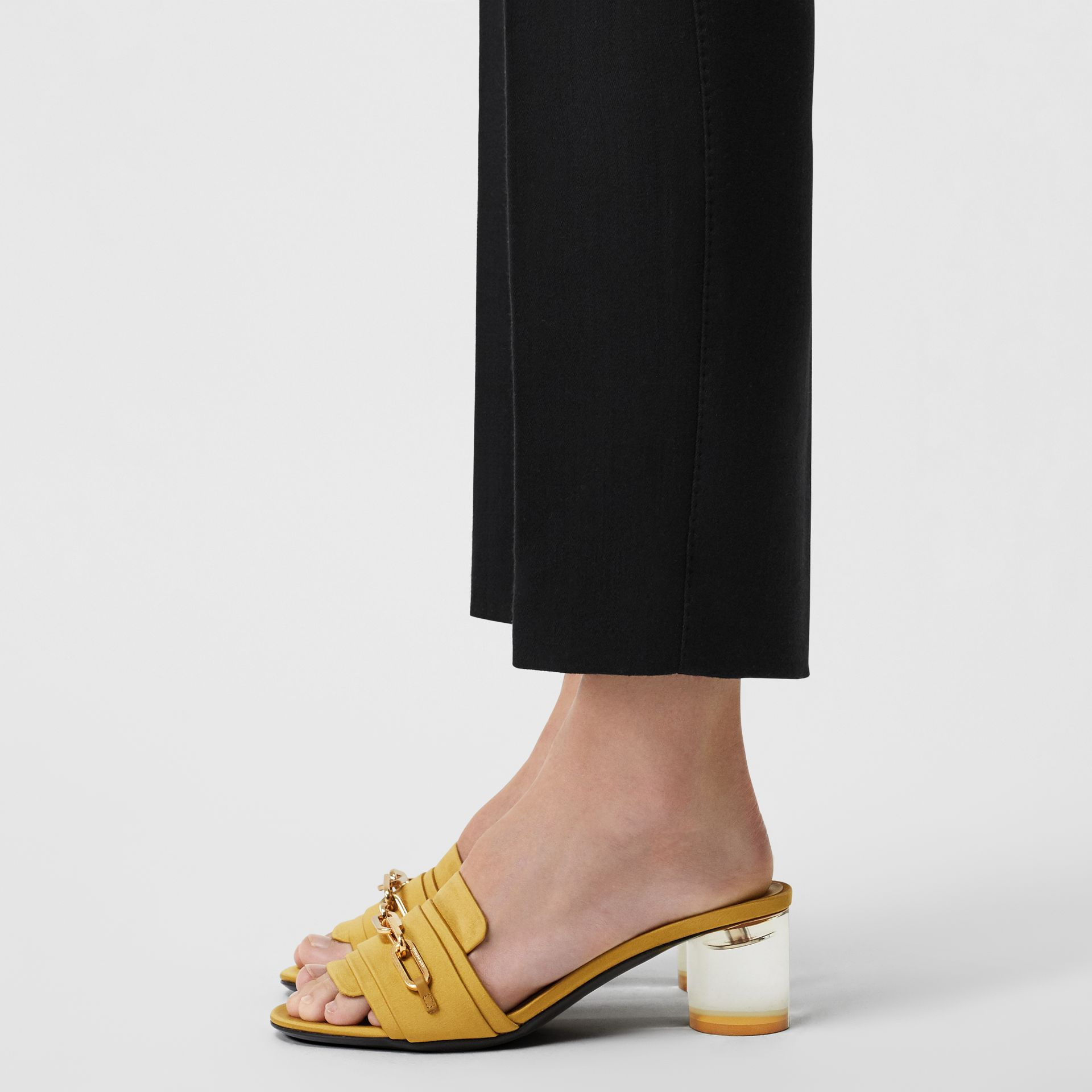 Link Detail Satin Heeled Slides in Antique Yellow - Women | Burberry Canada - gallery image 2