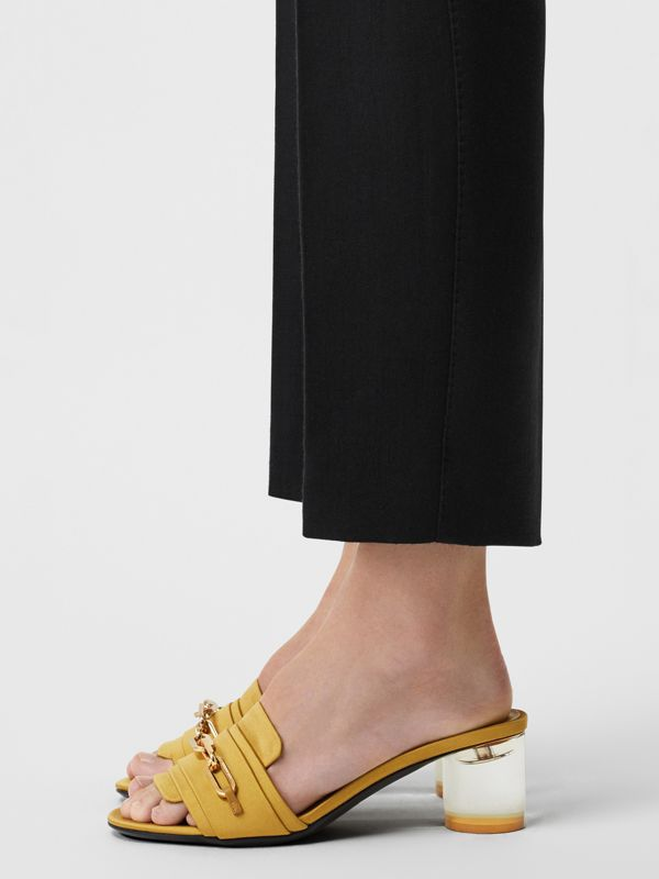 Link Detail Satin Heeled Slides in Antique Yellow - Women | Burberry - cell image 2