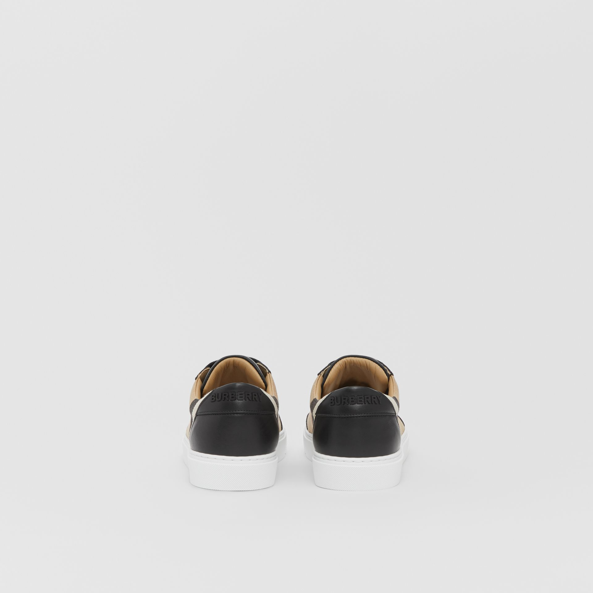 House Check and Leather Sneakers in Black - Women | Burberry United Kingdom - gallery image 4