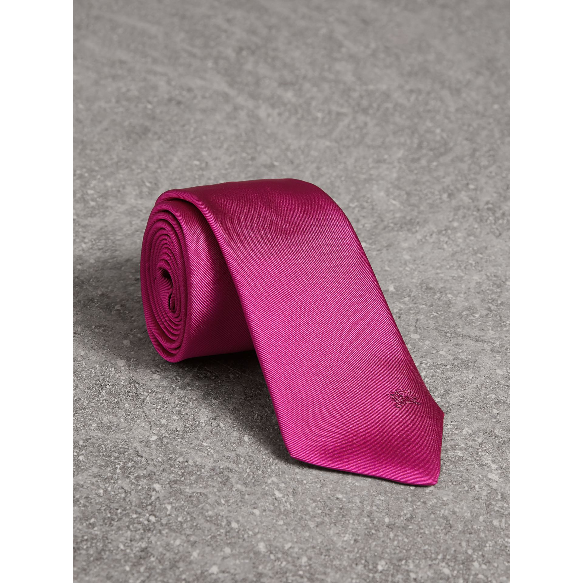 Modern Cut Silk Tie in Bright Rose Pink - Men | Burberry - gallery image 1