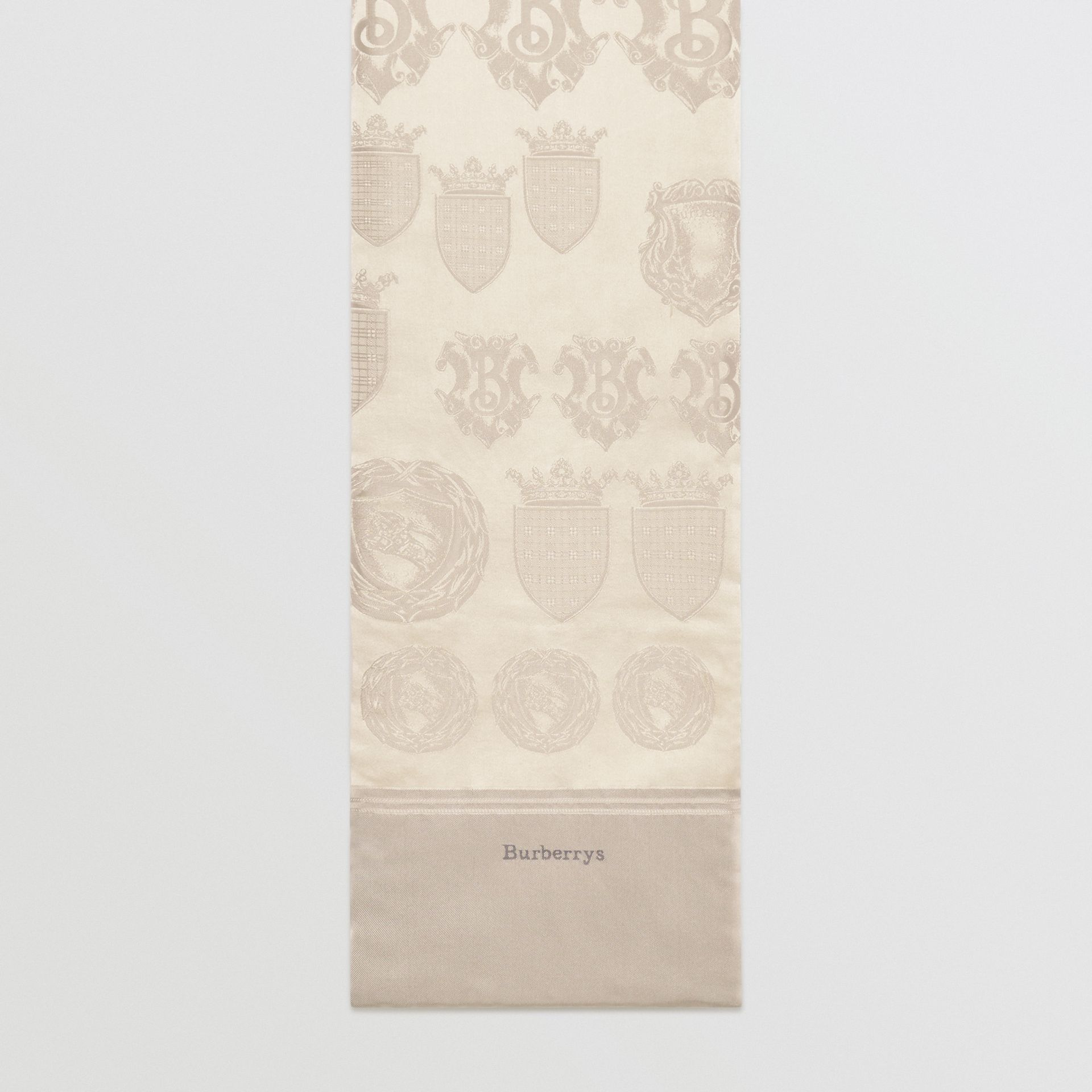 Archive Shield Silk Jacquard Puffer Scarf in Stone | Burberry United Kingdom - gallery image 0