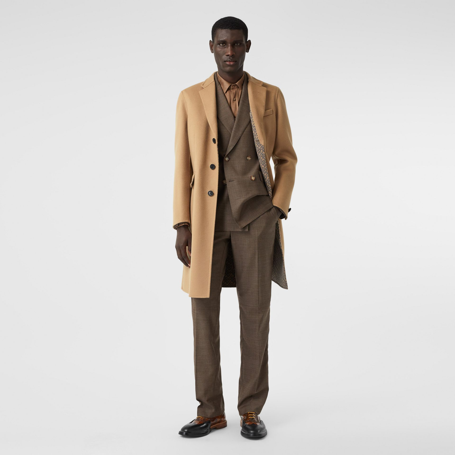 Double-faced Wool Tailored Coat in Soft Fawn/mid Grey Melange - Men | Burberry - gallery image 0