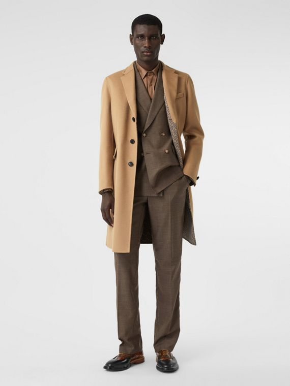 Double-faced Wool Tailored Coat in Soft Fawn/mid Grey Melange