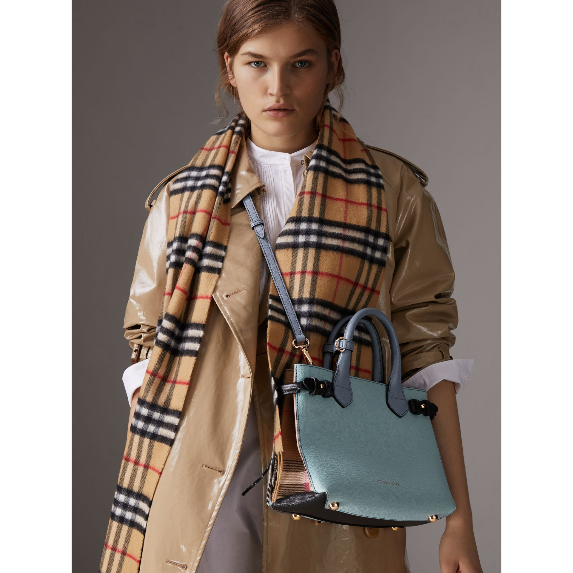 The Small Banner in Tri-tone Leather and House Check in Pale Opal/slate Blue - Women | Burberry - gallery image 3