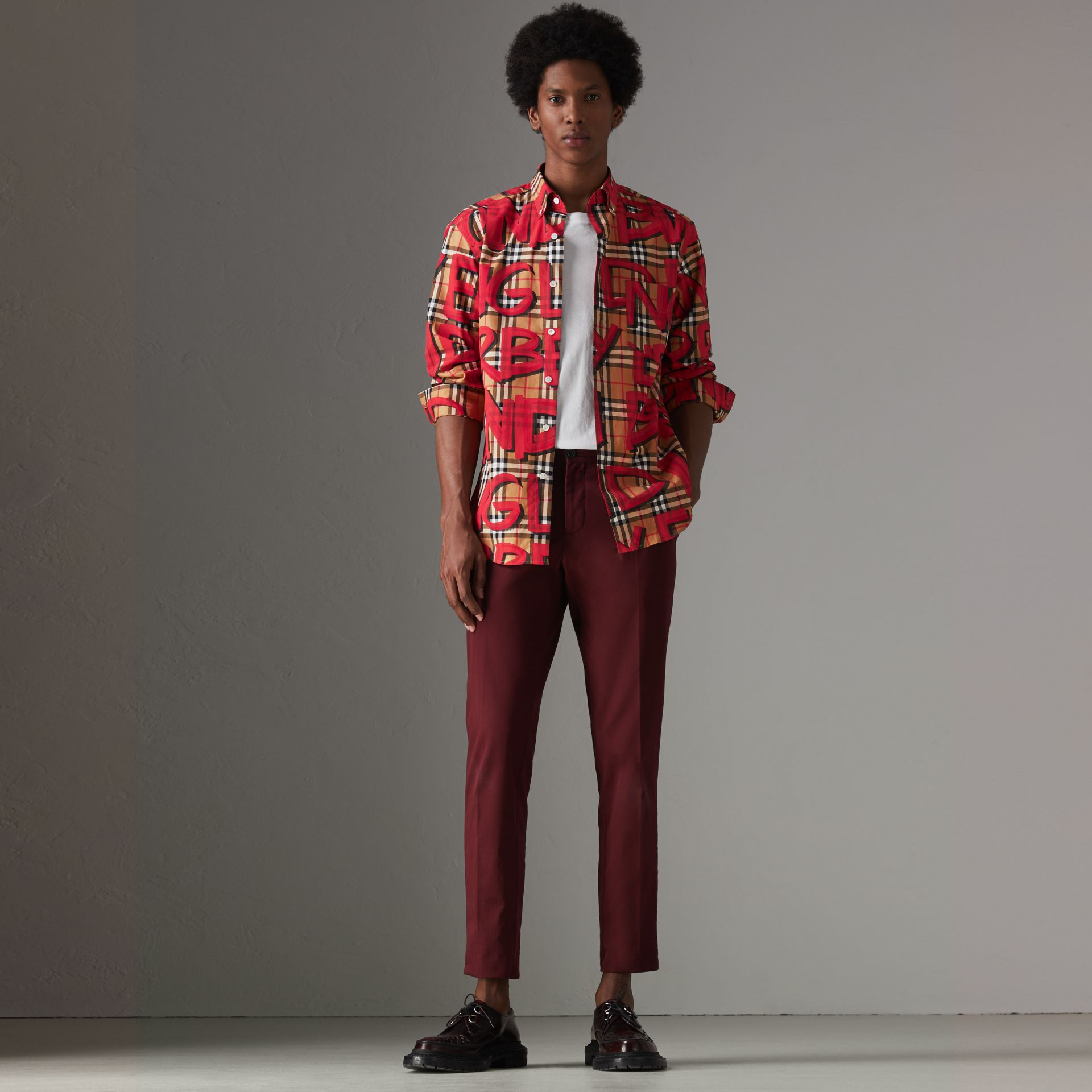 Graffiti Print Vintage Check Shirt in Bright Red - Men | Burberry United Kingdom - gallery image 0