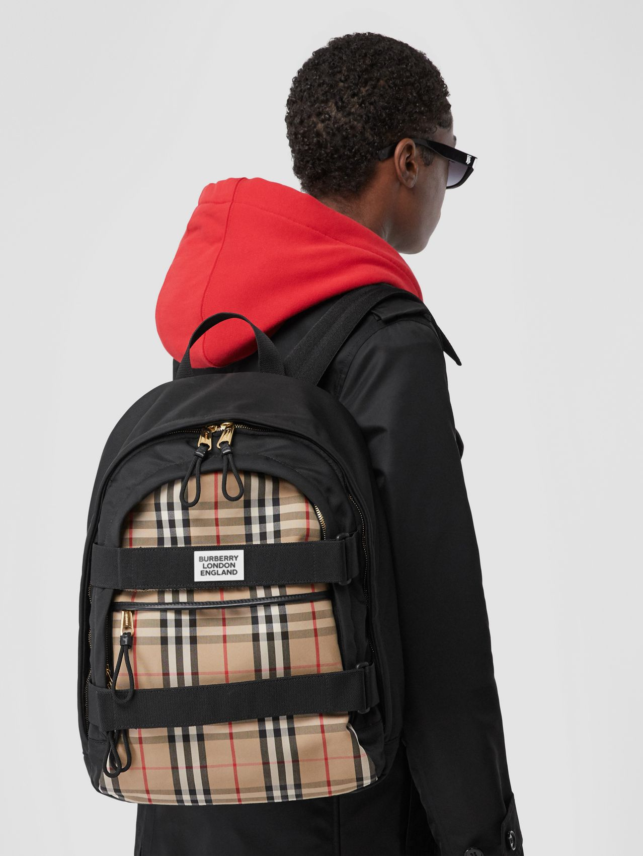 Medium Vintage Check Panel Nevis Backpack in Archive Beige