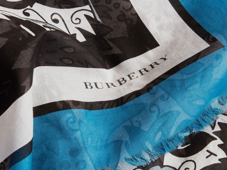 Beasts Print Lightweight Cotton Scarf in Pale Blue Carbon - Women | Burberry - cell image 1