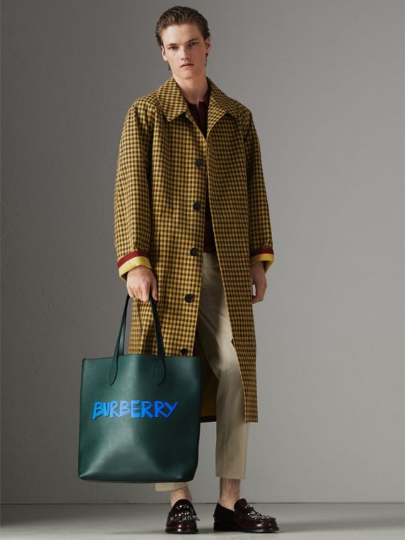 Graffiti Print Bonded Leather Tote in Deep Bottle Green | Burberry Canada - cell image 2