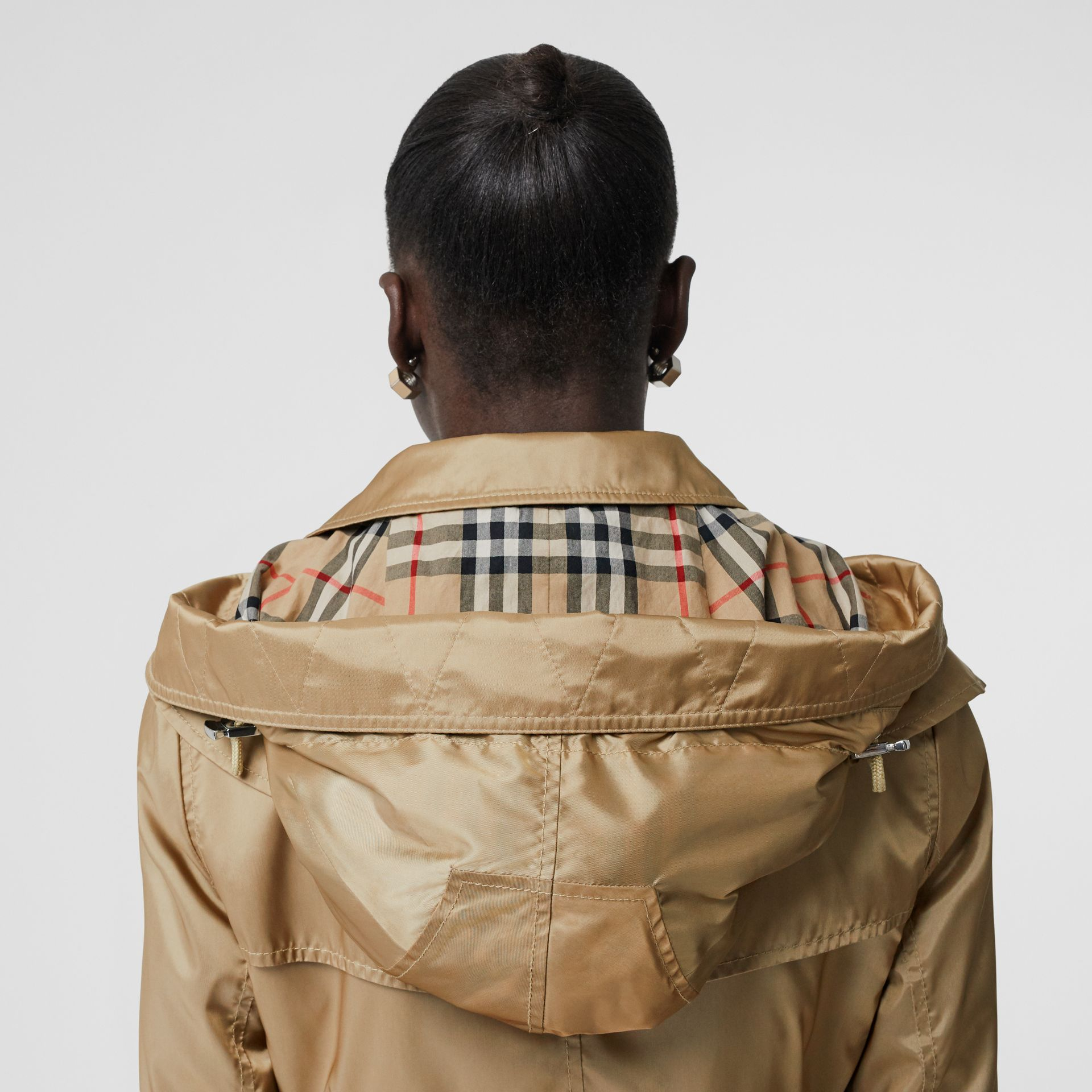 Detachable Hood ECONYL® Trench Coat in Honey - Women | Burberry - gallery image 5