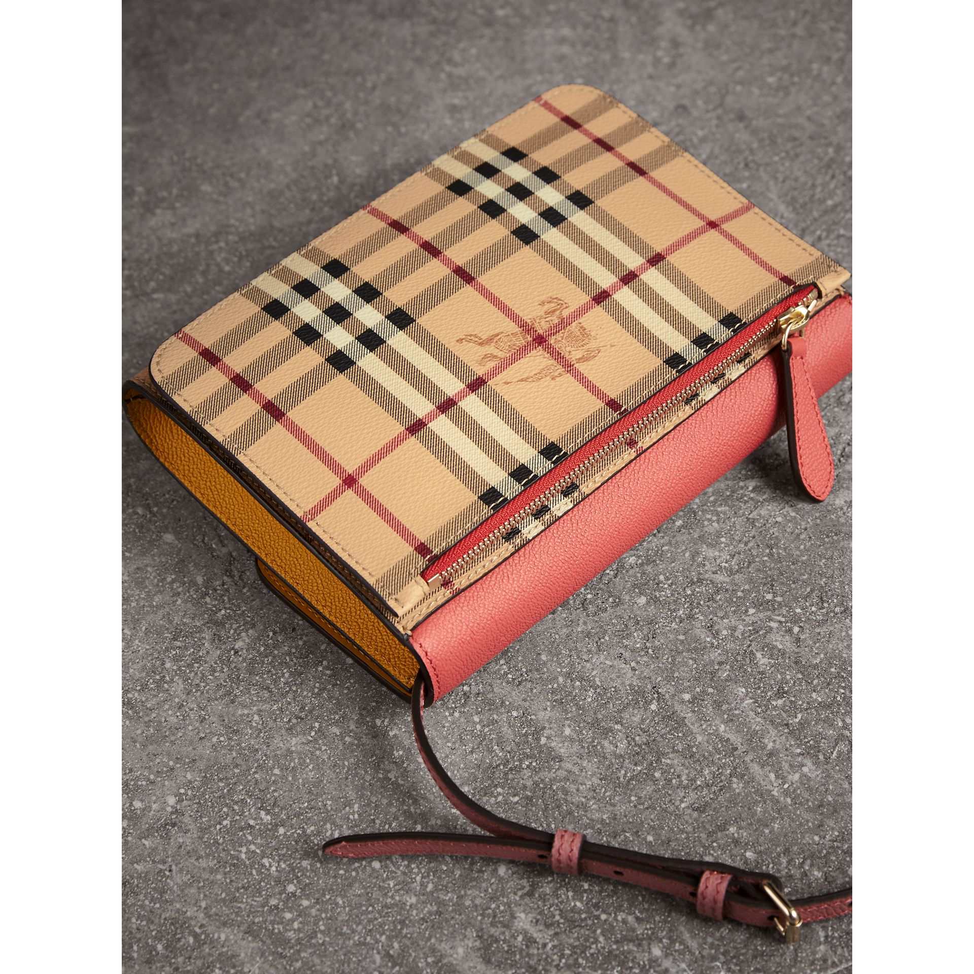 Haymarket Check and Leather Crossbody Bag in Cinnamon Red/multi - Women | Burberry - gallery image 3