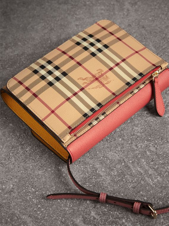 Haymarket Check and Leather Crossbody Bag in Cinnamon Red/multi - Women | Burberry - cell image 2