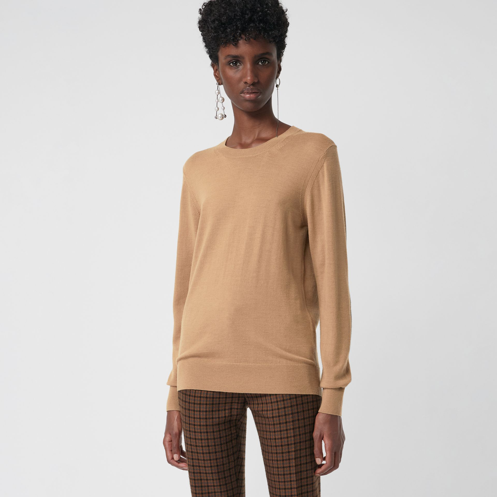Vintage Check Detail Merino Wool Sweater in Camel - Women | Burberry - gallery image 0